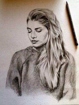 Hannah Reid drawn by Maria Bassil.