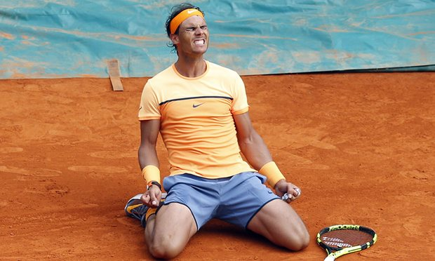 Nadal after beating Gael Monfils in the final of Monte-Carlo. Photo: Valery Hache/AFP/Getty Images